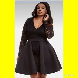 Black lace peplum dress